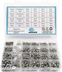 Stainless Steel Bolts Screws Nuts Washers Assortment Kit With Storage Box