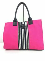 Secondhand Tory Burch Leather Handle Tote Bag Canvas Pink Inner Dirt Damage $147.50