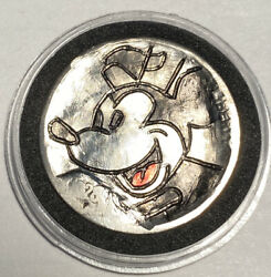 Hand Carved Engraved Hobo Nickel Coin 1928 Mickey Mouse Steam Boat Willie $14.75