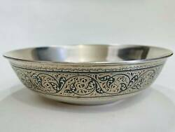 Kubachi North Niello Russian Gilt Sterling Silver 875 Vintage Soup Plate 292 Gr