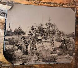 Rare Half Plate Antique Outdoor Ambrotype Photo Berry Pickers Kids And Toy Wagon