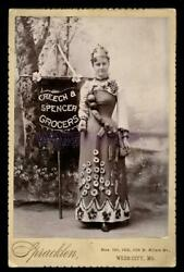 Antique Banner Lady Holding Sign Advertising A Webb City Missouri Grocery Store