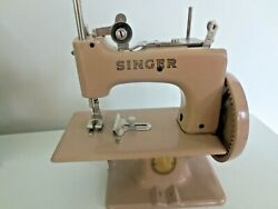 Singer Sew Handy Antique Model 20 Beige Sewing Machine Child With Clamp Book Box