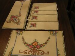 Vintage Embroidered Cotton Tablecloths And Napkins, Cross-stitch Embroidery