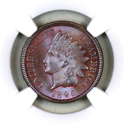 1890 Ms66 Bn Ngc Indian Head Penny Premium Quality Superb Eye-appeal