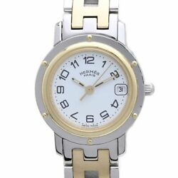 Free Shipping Pre-owned Hermes White Dial Ss / Gp Combination Quartz Cl4.220.130
