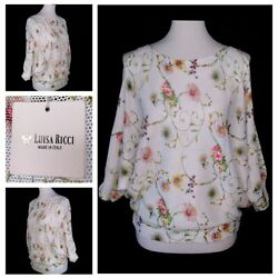 Luisa Ricci Knit Top Women's Small S Batwing Cold Shoulder Floral Made In Italy