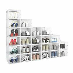 24 Pack Shoe Storage Box Plastic Foldable Stackable Clear X-large White