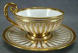 Authentic Sevres Gold Gilt Laurel Leaves Empire Form Tea Cup And Saucer Circa 1822