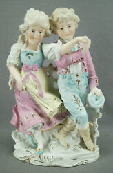 Grafenthal 12 1/4 Inch Hand Painted Bisque Porcelain Figural Couple C.1879-1886