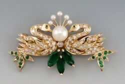 14k Yellow Gold Emerald Gemstone And Pearl Double Swan Pin/brooch