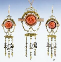 Lovely Victorian 14k Gold Carved Coral Rose Earring And Necklace Set Demi-parure