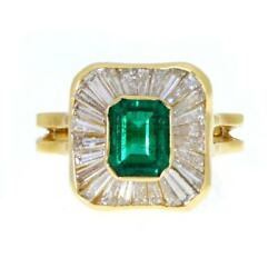 18k Yellow Gold 2.94ct Diamond And Emerald Cocktail Ring Size - 6.5