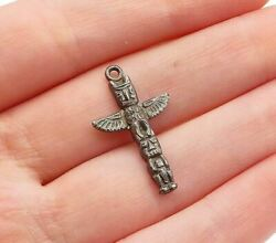 925 Sterling Silver - Vintage Dark Tone Traditional Statue Pendant - P10660