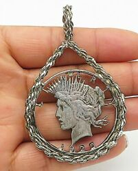 925 Sterling Silver - Vintage Statue Of Liberty Face Twist Pendant - P6030