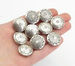 Navajo 925 Silver - Vintage 10 Pcs Floral Etched Round Button Covers - T2430