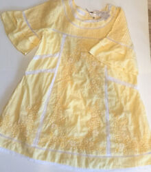 Free People Sunny Day Checkered Swing Mini Dress S Yellow White Embroidered New