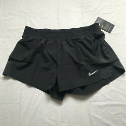 Womenand039s Nike Dri-fit 10k Running Black Lined Shorts Swoosh Size M Activewear Nwt