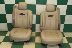 03-06 Avalanche Recovered Tan Leather Dual Power Bucket Seats Armrests Belts Oem