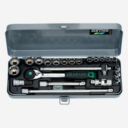 Heyco 0410010 Metric 12 Point 3/8 Drive Socket Set With Ratchet, 23 Pieces
