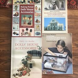 Lot 4 Vintage Doll House Books Dioramas Needlepoint Rugs And Period Accessories