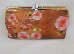 HOBO International Floral Leather Double Frame Clutch Walet $44.99