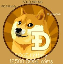 Doge Crypto Mining 1 Week Solo Mining Contract Lottery 12,500 Doge Coin Reward