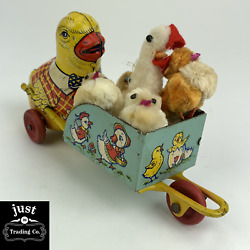 Vintage J. Chein Tin Lithograph Toy Easter Chick With Cart + Chicks Rare