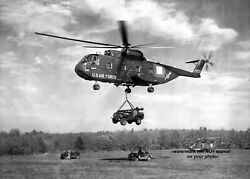 Vietnam War Photo Sikorsky Ch-3c Jolly Green Giant Helicopter Jeep 1964 5x7 Pic