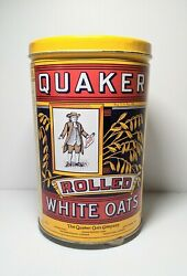Vintage Quaker Rolled White Oats Tin Canister 1992 Stamp On 1984 Ltd Edition