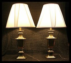 2 Vintage Deco Leviton Solid Brass Regency 30 Table Lamp Pair Working Lamps