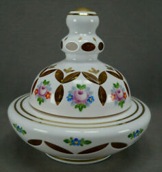 Czech Bohemian Hand Enameled White Cased Cut To Amber Covered Candy Dish Bowl