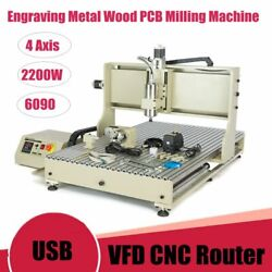 Usb 4axis Vfd Cnc 6090 Router Engraver Metal Cutter Drill/milling Machine 2200w