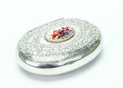 Sporting Snuff Box Sterling Silver And Enamel 1906 Antique Tobacco