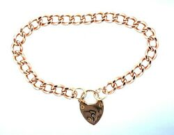 9ct Rose Gold Hallmarked 7.5 Open Rounded Curb Bracelet And Antique Padlock Clasp