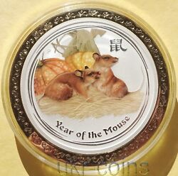 2008 Australia Lunar 8 Year Of The Mouse 5 Oz Silver Color Coin Rat Golden Ring