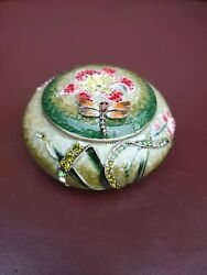 Beautiful Vintage Metal And Enamel Dragonfly Orchid Trinket Box Glass Gems