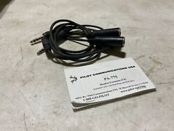 1x Pilot Communications Pa-77s Headset Extension Dual Plug And Jacks 5and039 Parts