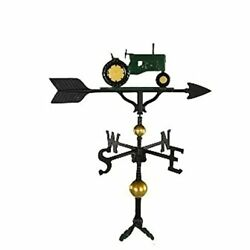 Montague Metal Products 32-inch Deluxe Weathervane With Green Tractor Ornament