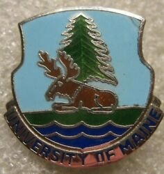 /di Army Crest Pin Rotc University Of Maine,pin Back,1950s