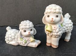 2 Vtg Lefton Figurines White Lambs Sheep With Bells amp; Flowers Around Neck