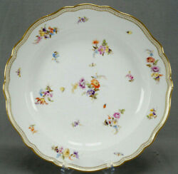 Meissen Hand Painted Floral Insects And Gold 12 3/8 Inch Charger C. 1860-1924