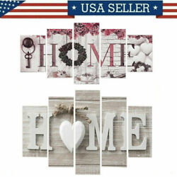 5Pcs Concise Fashion Wall Paintings Home Letter Printed Photos Art Wedding Decor