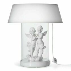 Lladro Vintage Angels Table Lamp White Large Glass 01007081 American Socket