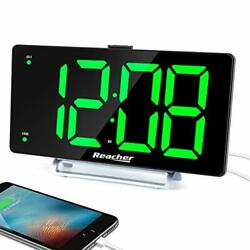 Large Alarm Clock 9quot; LED Digital Display Dual Alarm with USB Charger Port Green
