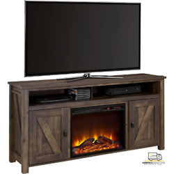 New Scandi Farmhouse Electric Fireplace Tv Console For Tvs Up To 60 , Rustic