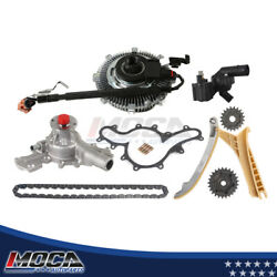 Timing Chain Kit Water Pump Fan Clutch Thermostat Housing Assembly Fit Ford Sohc