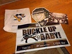 Pittsburgh Penguins Collectible Lot_buckle Up Baby Sign_calendar_bag_pennant