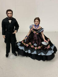 6 Dollhouse Miniature Abraham Lincoln And Mary Todd Doll Lot Paulette Stinson