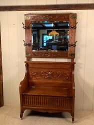 Antique Oak Hall Bench With Matching Mirror